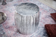 Handgemaakte bijzettafel MARRAKESCH 42 cm zilver met gehamerd design