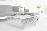 Handgemaakte salontafel ABSTRACT 60cm aluminium, zilverkleurig in het spleetdesign