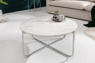 Handgemaakte salontafel NOBLE 62 cm wit afneembaar marmeren blad