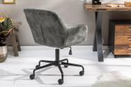In hoogte verstelbare bureaustoel DUTCH COMFORT groen fluweel met doorgestikte stiksels