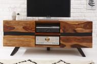 Massief TV lowboard AMAZONAS 160cm bruin sheesham hout met boomrand