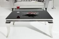 Modern salontafel BAROQUE 100cm zilver met zwart opaal glas