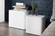Moderne salontafel set van 2 MONOBLOCK 40 cm hoogglans witte bijzettafels