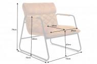 Retro fauteuil mosterdgeel fluweel met sierstiksel