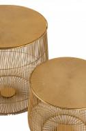 Salontafel Set Van 2 Bijzettafel Mand Metaal Goud