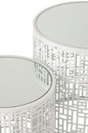 Bijzettafels set van 2 Motief wit Metaal gespiegelde glas