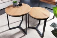 Design bijzettafel set van 2 eiken look 50 cm industriële stijl
