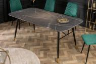 Design eettafel 180cm Antracietgrijs glazen tafel marmer look