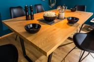Design eettafel LOFT 140 cm eiken look met slede onderstel industriële stijl
