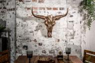 Design schedel MATADOR 70cm koper gevlamd aluminium wanddecoratie