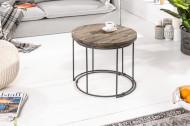 Design set van 2 bijzettafels RIVER 50 cm acacia salontafels verweerd