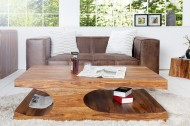 Edele salontafel CUBUS 120 cm sheesham palissander hout steen afwerking