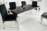 Elegante design eettafel MODERN BAROQUE 180 cm zwart roestvrijstalen opaal glazen tafelblad