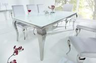 Elegante design eettafel MODERN BAROQUE 200cm wit roestvrijstalen opaal glazen tafelblad