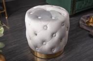 Elegante kruk MODERN BAROK 37 cm edelgrijs goud fluweel