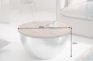 Handgemaakte salontafel ORIENT STORAGE 60cm zilver mangohout met opbergruimte