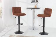 Hoogte verstelbare Barstoel met voetensteun vintage bruin set van 2