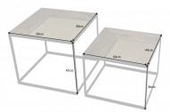 industriële salontafels Mangohout met vlechtwerk set van 2 LOUNGE 50 cm