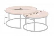 industriële stijl Ronde eikenlook 80 cm salontafel set van 2