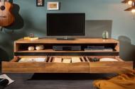 Massief tv-bord MAMMUT 160 cm acacia honingkleurig metalen lowboard met boomrand