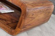 Massieve salontafel CURVED 100 cm Sheesham Wood Stone Finish TV-Lowboard