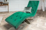 Modern design ligbed RELAXO 165 cm smaragdgroen fluweel met doorgestikte ligbed Relax ligbed