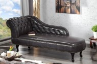 Ontwerp Chesterfield Récamière/ longchair in donkere koffie