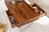 Solide salontafel 117 cm acacia bruin goud retro design