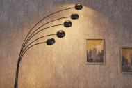 Design booglamp FIVE LIGHTS 210 cm zwart gouden vloerlamp met marmeren voet