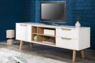 Design Lowboard\TV board NORDIC 150cm klassiek mat wit echte eiken