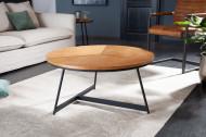 Design Ronde salontafel 80cm eiken zwart metalen frame