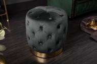 Elegante BAROCK Poef 37 cm zwart goud fluweel