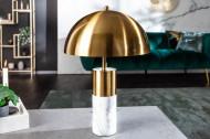 Elegante tafellamp 52cm goud wit met marmeren voet