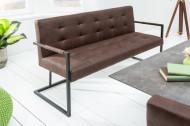 Industriële bank RIDER 160cm vintage bruin met metalen frame