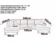 Moderne Lounge Hoekbank stof lichtgrijs Panoramische Salon stof Licht Grijs 348 cm