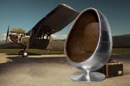 Relaxstoel Model: Space Egg - Zilver / Bruin