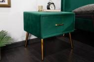 Retro nachtkast met lade fluweel stof smaragdgroen FAMOUS 45cm