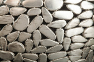 Set van 2 salontafels STONE MOSAIC 65 cm zilver acaciahout handgemaakte mozaïek look