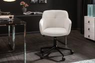 Bureaustoel wit met sierstiksels In hoogte verstelbare