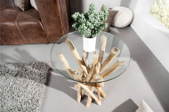 Design bijzettafel DRIFTWOOD 40cm teak met glazen blad ronde salontafel