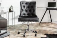 Design bureaustoel VICTORIAN lederen look zwarte draaistoel met armleuning