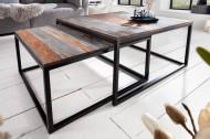 Design salontafel set van 2 ELEMENTS 75 cm Sheesham gerookte afwerking met ijzeren frame