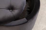 Elegante poef BAROK 50 cm zwart fluwelen met opbergmand
