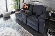 Exclusieve 2-zits bioscoopfauteuil HOLLYWOOD donkergrijze tv-fauteuil met bekerhouder