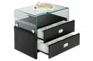 Exclusieve nachtkastje MANHATTAN zwart 55 cm met glasplaat voor boxspring