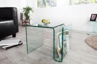 Glazen Bijzettafel transparant FANTOME 50 cm met opbergvak voor tijdschriften