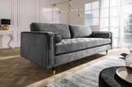 Luxe design 3-zitsbank 225 cm zitcomfort pocketvering fluweel stof grijs
