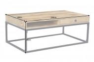 Massief salontafel IRON CRAFT 100 cm mangohout met laden!!!! leverbaar januari 2021