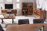 Massief salontafel met boomrand AMAZONAS 110 cm bruin sheesham met X-frame