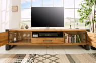 Massief tv-bord BIG 200 cm wild eiken geolied lowboard in industrieel design